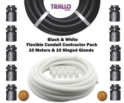 10 Meters 10 Glands /& 10 Conduit Quick Clips LSOH IP40 Trade Size 20mm 20mm Black Flexible Conduit Contractor Pack Internal 16.8mm