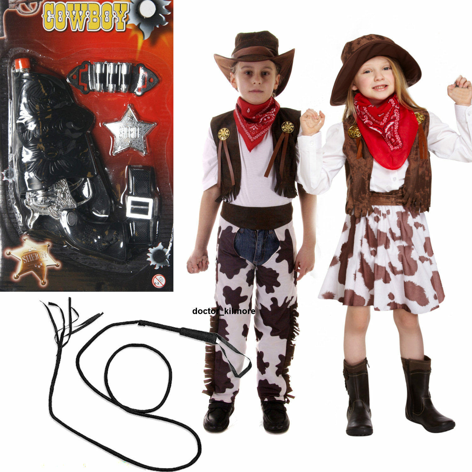 Yeahdor Kids Boys Girls Cowboy Cowgirl Waistcoat Party Fancy Dress Costume Open Front Cow Printed Vest Tops