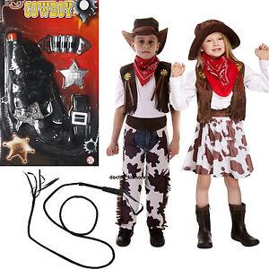 Cowboy-Cowgirl-CHICOS-CHICAS-CHILDS-NINOS-Fancy-Dress-Costume-optar-Pistola-Latigo-edad-3-12