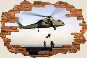 3D-Hole-in-Wall-Army-Helicopter-View-Wall-Stickers-Film-Mural-Art-Decal-138