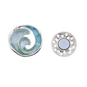 Magnet Brosche Tücher Schal Clip Tuchhalter Halter Tasche Rose blau bunt silber