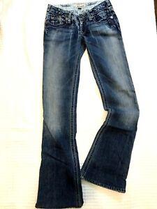 Max Rave Junior size 9 Jeans Flap Pocket Flare Cargo Medium Wash Blue Solid Pant