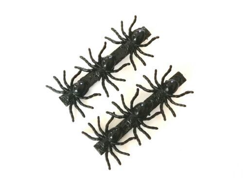 2 X BLACK SPIDER HAIR CLIPS SLIDES GOTHIC HANDMADE GIRLS LADIES SPOOKY HALLOWEEN