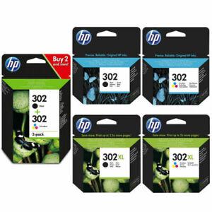 ORIGINALE HP 302/302XL Nero & Cartucce di inchiostro colore per HP Deskjet 3634 LOTTO