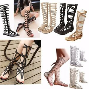 f44c1ea417 Image is loading Women-Strappy-Gladiator-Sandals-Knee-High-Zipper-Shoes-