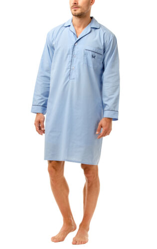 Haigman Men/'s Easy Care Long Sleeve Nightshirt with Cotton Nightwear