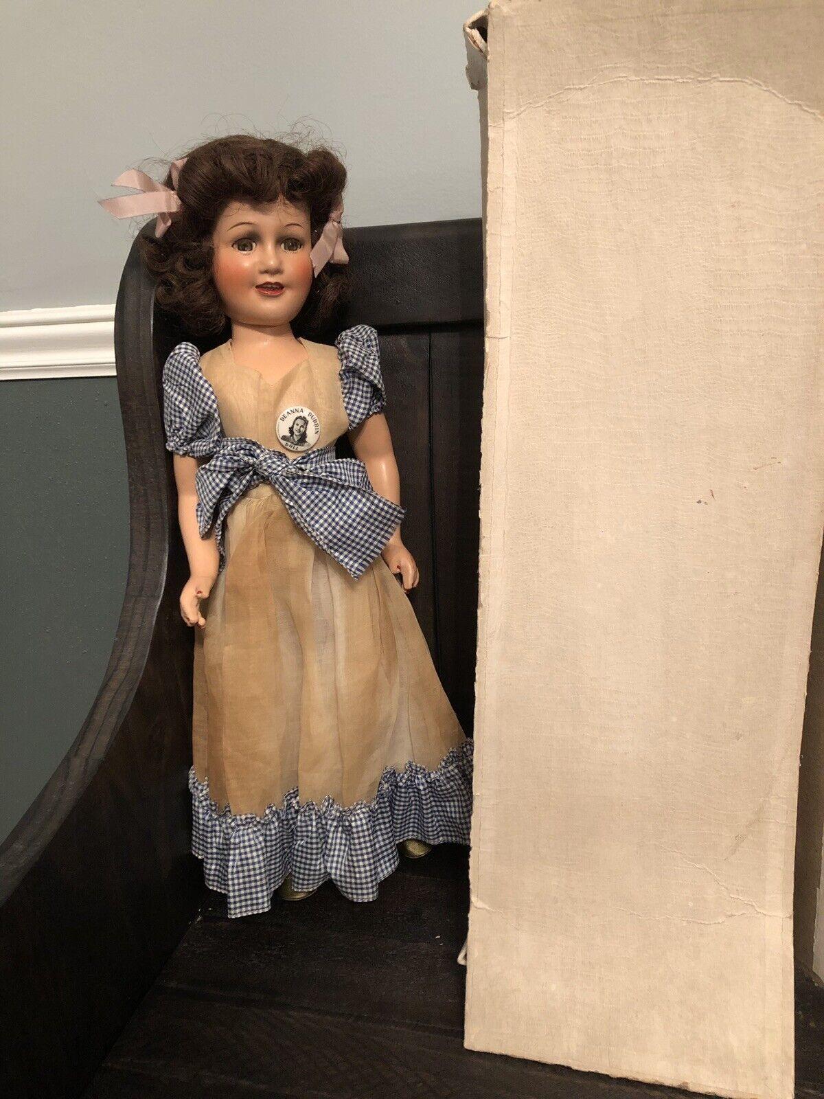 "Vintage Excellent Condition 17"" Deanna Durbin Composition Doll All Original Box"