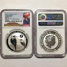 2017 Australia Kookaburra SHARK Privy Silver Coin BU 1oz 999 NGC MS 70 ~ 1st 5K