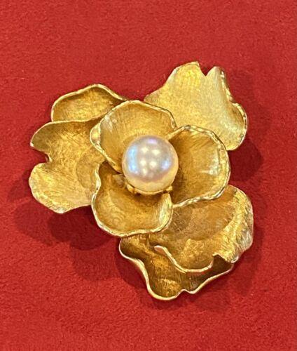 Vintage Designer Anne Klein Gold Magnolia Brooch w