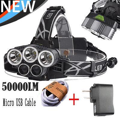 50000LM 5Head XML XM-L T6 LED 18650 Headlamp Headlight Flashlight w 3PCS Charger