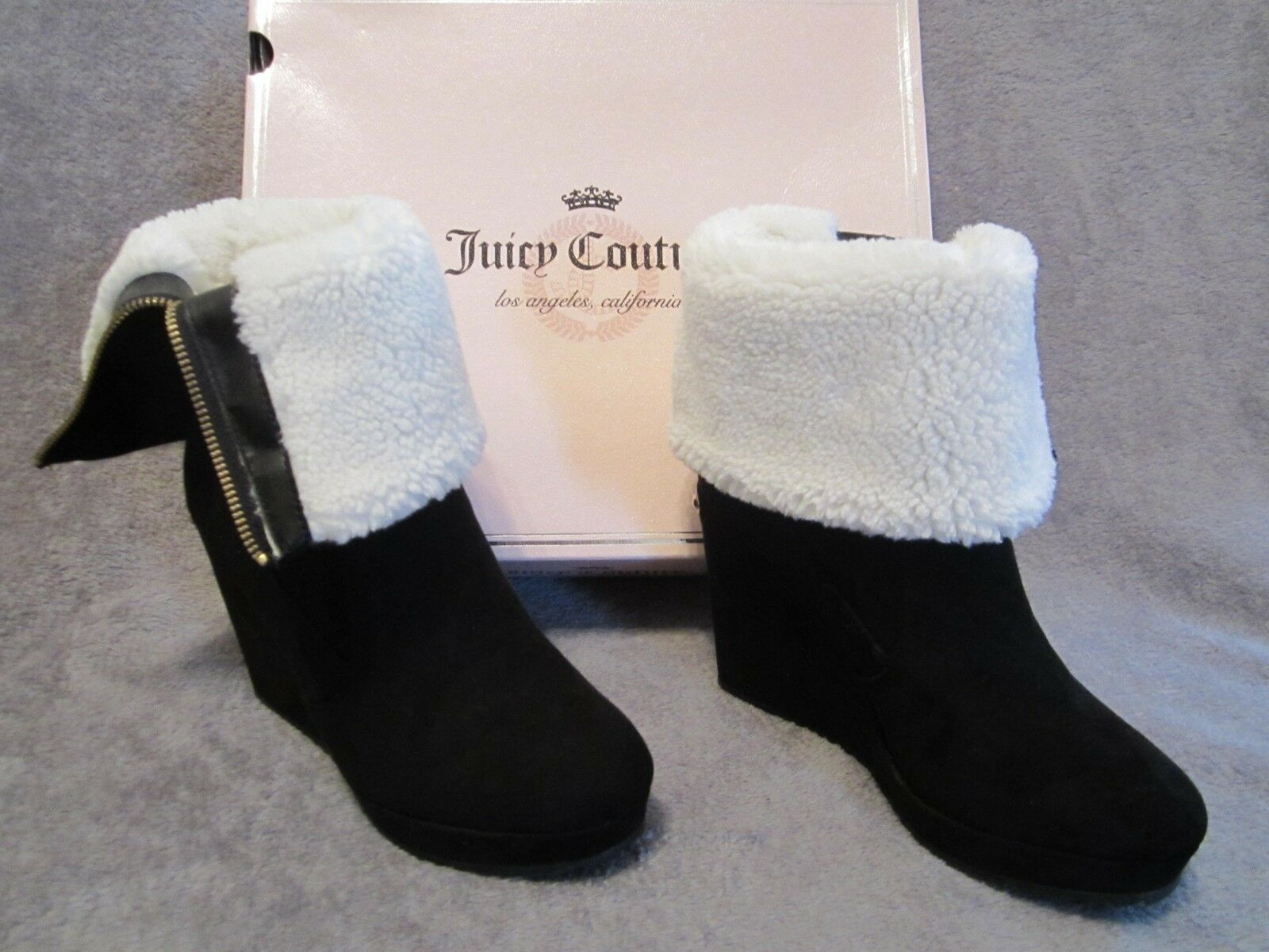 NEW JUICY COUTURE Boots KASIA Fold Over Lined Platform Platform Platform Wedge Black Boots Size 9 f48135