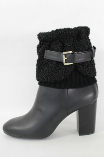 Women Boots Cover Topper Pair Black Faux Leather Belt Strap Slip On Booties Knit