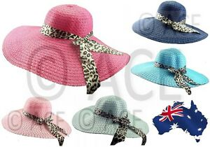 Image is loading Womens-Extra-Wide-Brim-Ladies-Summer-Leopard-Bow- d29e6993d50