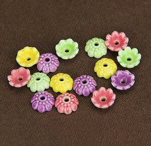 10PCS-Ceramic-Porcelain-Flower-Bead-Caps-Spacer-beads-Charm-Findings-4mmx10mm