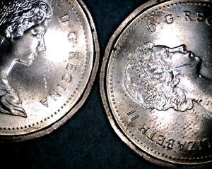 1983-NEAR-BEAD-AND-FAR-BEAD-CANDADIAN-PENNIES-2-VARIETIES-NICE-COINS