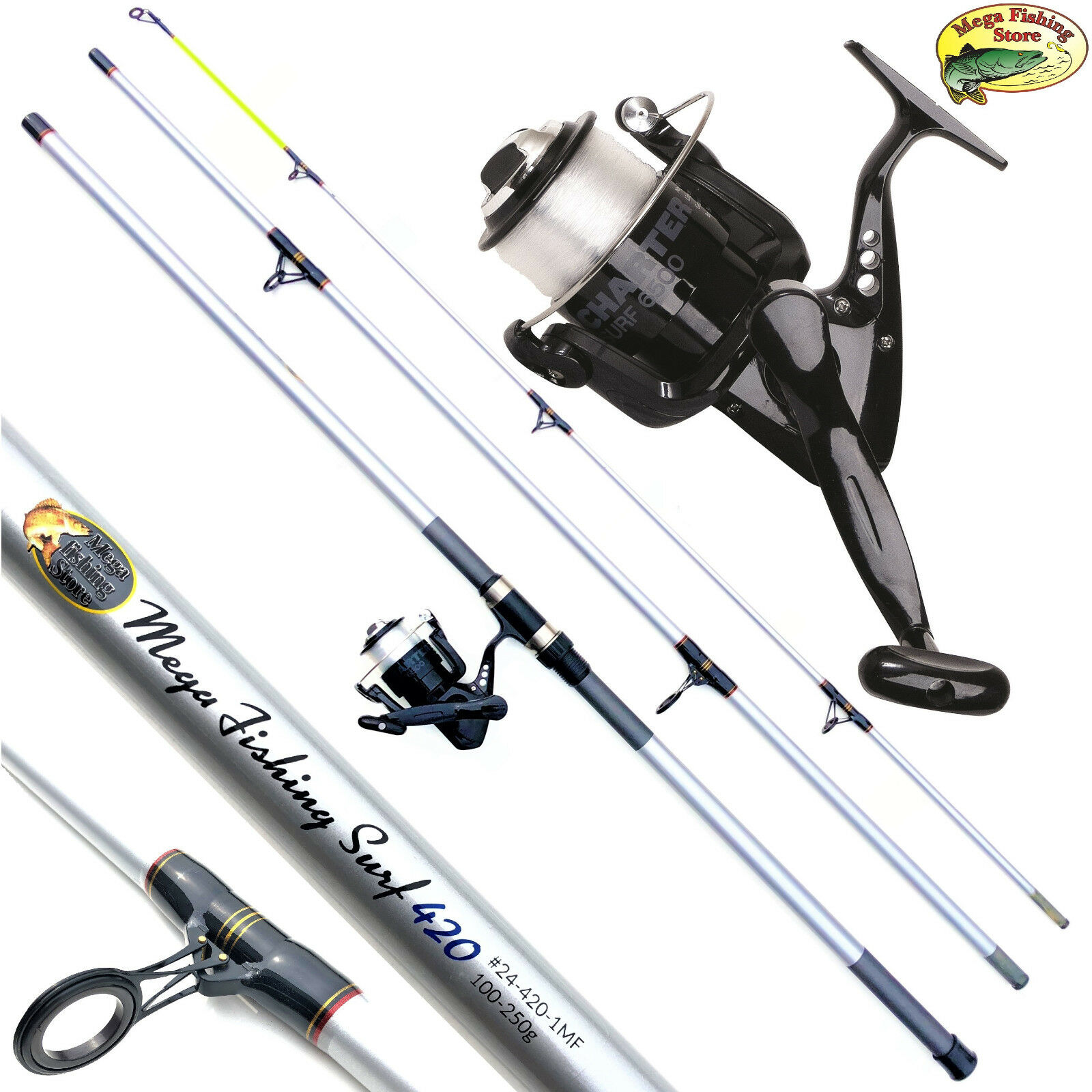 Mega Fishing Surf brandungs Combo increspature del mare stadia ruolo & 3,90m4,20m  100250g