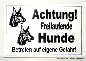 Gewissenhaft Achtung Freilaufende Hunde,türschild,hinweisschild,gravur,12 X 8 Cm,warnschild Hunde