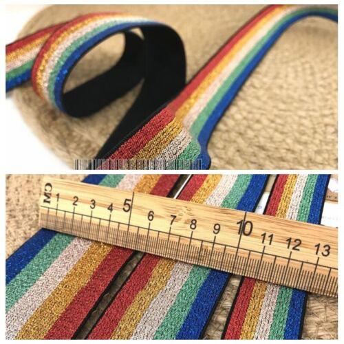 5m Rainbow Color Elastic Stretch Webbing Strap Ribbon Costume Trimmings DIY Sew