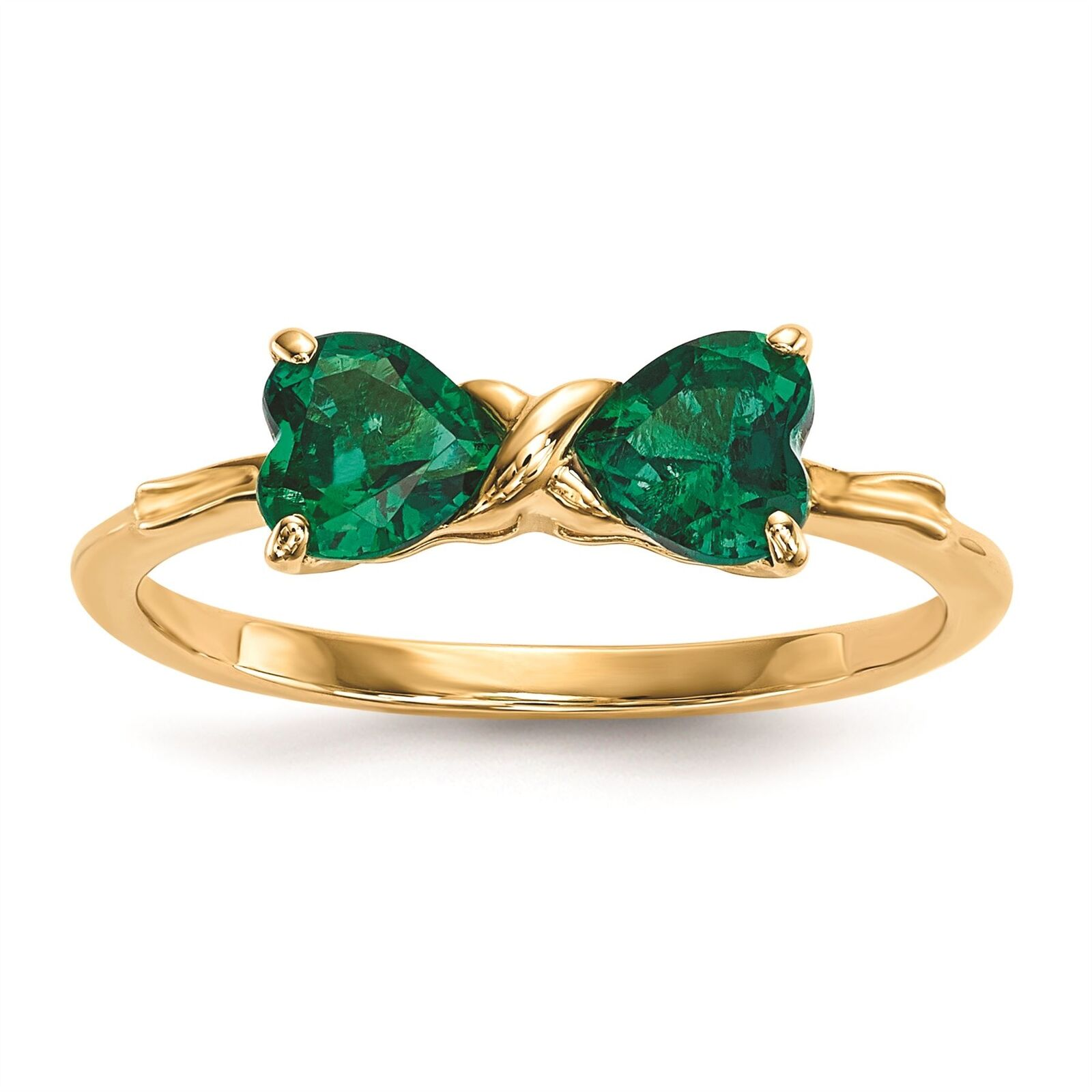 14K gold 5.1 MM Created Emerald May Birthstone Bow Ring, Size 7 MSRP  387