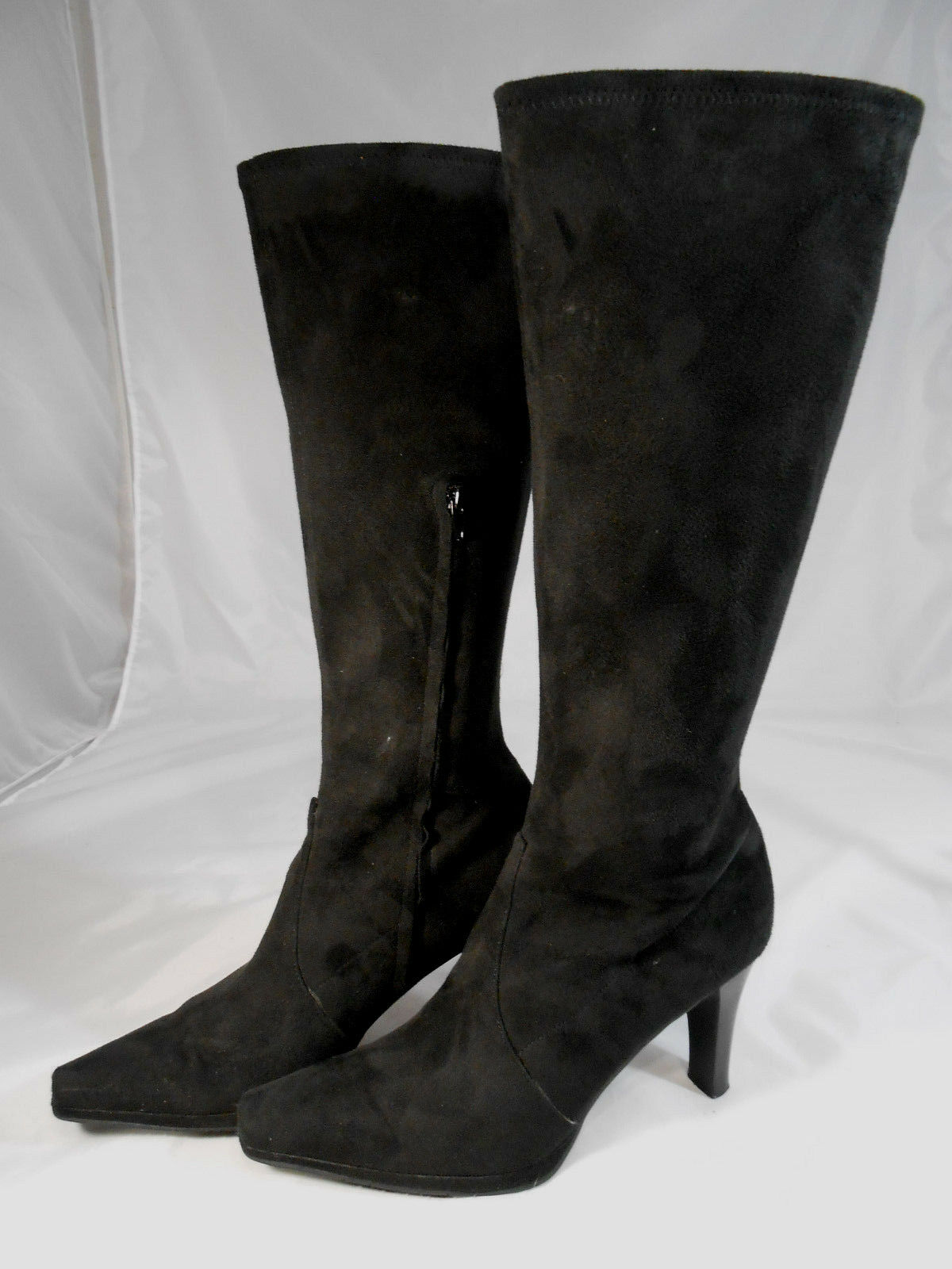 Worthington Womens Jackie Size 8.5 M Black Suede Knee High Stiletto Heel Boots