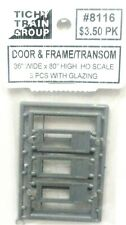 4 Panel Door /& Frame w//2 Lite Transom // 2 Sets in Pkg Tichy Train Group O #2035