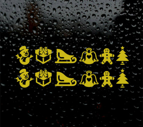 12  X GOLD CHRISTMAS WINE GLASS DECAL LOGO SNOWMAN XMAS other colours available