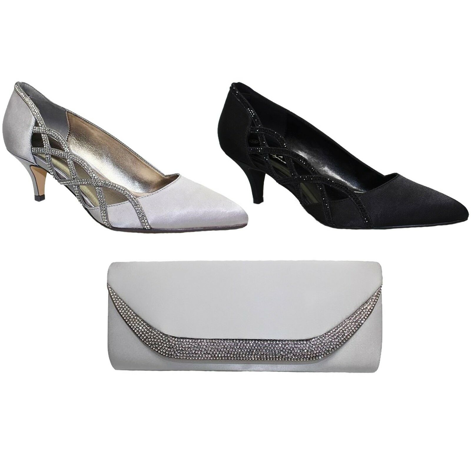 FLR365 Honor Slip On Pointed Toe Satin Feel Diamante Court Schuhe Heel Clutch
