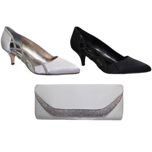 FLR365 Honor Slip On Pointed Toe Satin Feel Diamante Court Shoe Heel Clutch