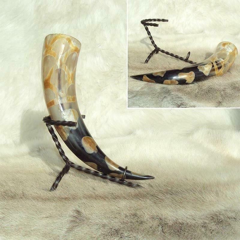 Burnt Effect Drinking Horn with Holder Perfect for Costume Re-enactment /& LARP