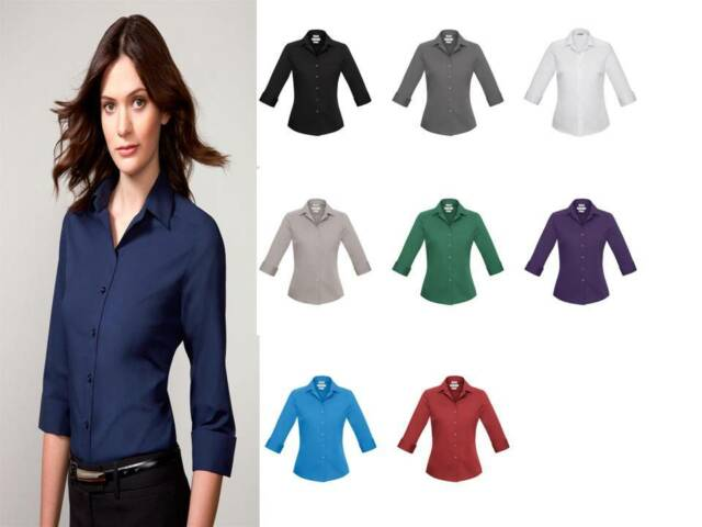 Verve Womens Business Shirt 3/4 Sleeve Office Workwear S-5XL S316LT Ladies Biz