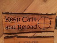 Laser Engraved Tree Log Slice Rustic Man Cave Hunting Sign Cherry Wood Decor