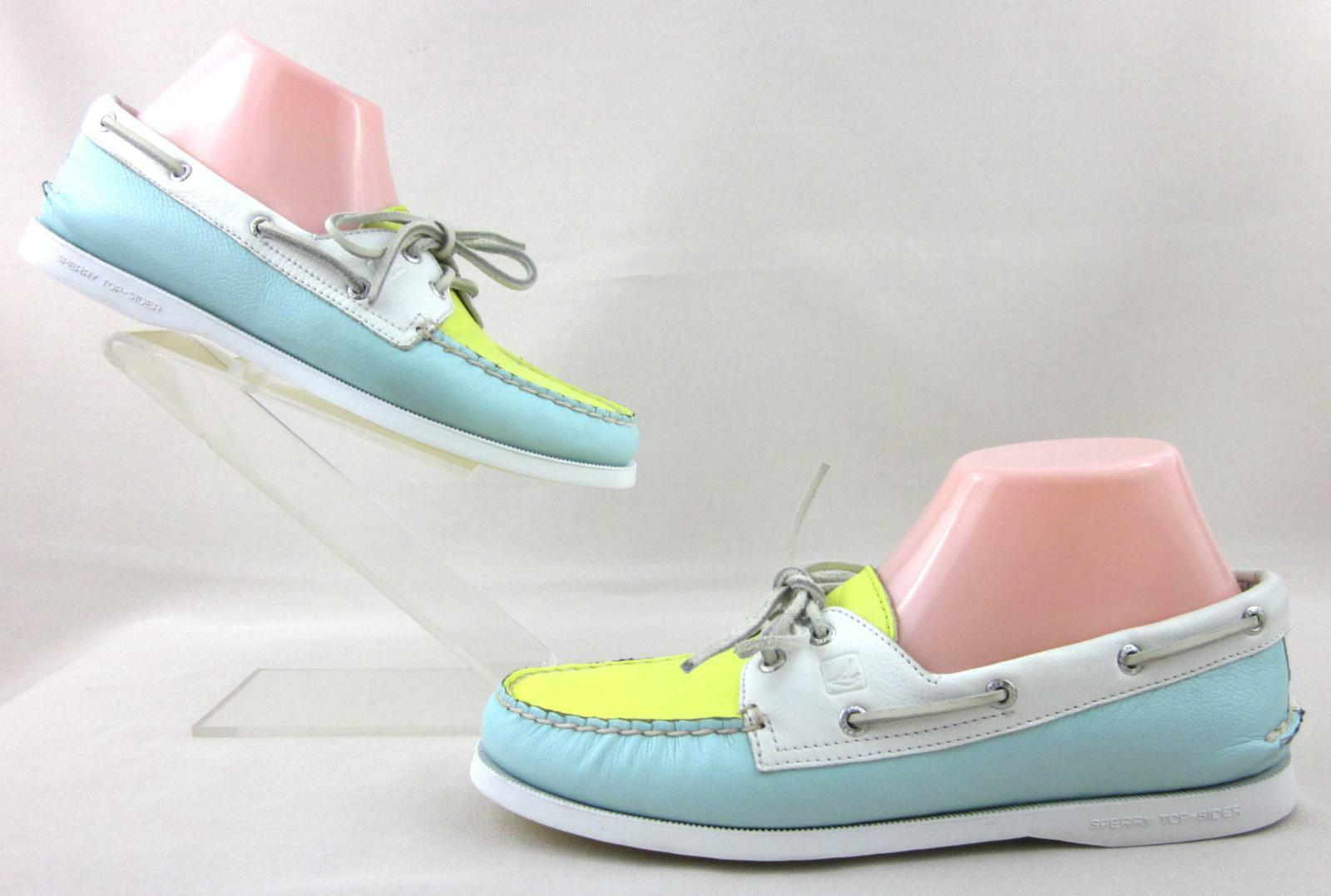 Sperry Top-Sider 2-Eye Boat sautope Bubbles blu   Pucker gituttio   bianca US 9M