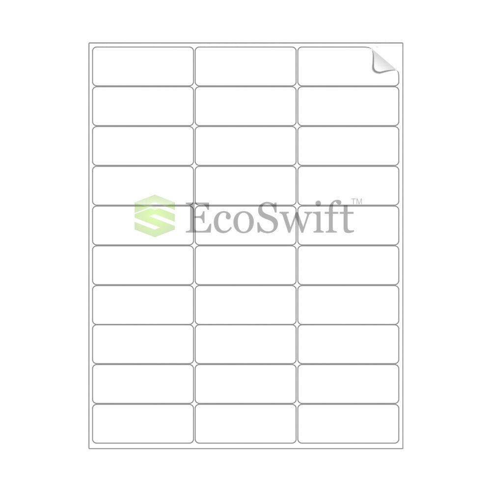 (150000) 2.625 x 1 Laser Address Shipping Adhesive Labels 30 per sheet 1 x 2 5 8