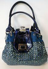 Damentasche Handtasche Tasche in Lederoptik Dunkelblau mit großen Pailetten