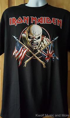 Iron Maiden Crossed Flags M 2XL Black T-Shirt L XL