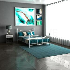 Paris-Metal-Bed-Frame-4ft-4ft6-Double-5ft-Memory-Foam-Mattress-Black-or-White