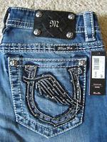 $94 miss Me Signature Horseshoe Angel Wings Pocket Capri Jeans 27