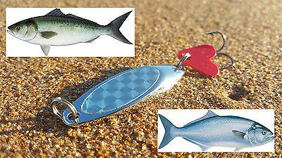 Sea Rock Pilchard spinning lure Tailor Deadly on Macks 40gm Salmon UV paint
