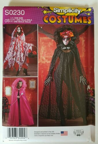 Simplicity S0230 Fantasy Gothic Theatre Capes Hooded Costume Pattern Womens NEW
