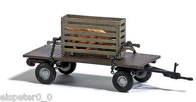 Busch 44929 Anhänger mit Schweinekiste, H0 Auto Fahrzeug Fertigmodell 1:87