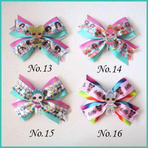 "20 BLESSING Girl 4.5"" Two Tone Wing Hair Bow Clip B- L.O.L Doll Rainbow Baby"
