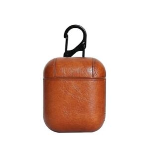 Luxury Leather Case Cover: Coffee Brown For Apple AirPods Generation 1/2