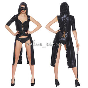 Black-Sexy-Women-Faux-Leather-Wet-Look-Hooded-Gothic-Catsuit-Long-Dress-Bodysuit