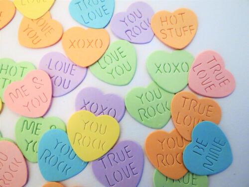 Valentines Conversation Candy Hearts 40 Paper Die Cut Scrapbook Embellishments