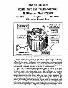 copys of the lionel kw 190 transformer service \u0026 instruction manualsimage is loading copys of the lionel kw 190 transformer service