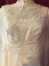 Vintage Long Sleeve Lace Wedding Dress Unbranded