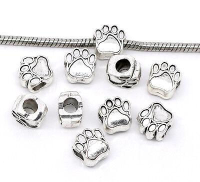 NEW Silver Tone Dog Bear Tiger Wolf Paw Charm Beads Fit European Charm Bracelets