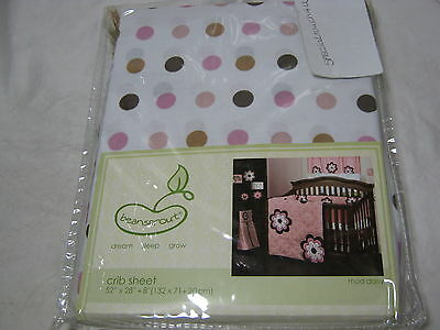 New Luxe Crib Fitted Sheet Soft Pink//Brown Dots NIP
