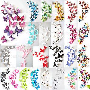 12-Set-3D-Schmetterling-Schmetterlinge-Wandtattoo-Deko-Wanddeko-Wandaufkleber