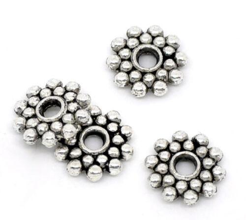 ccessories DIY 100PCs Snowflake Spacers Beads Findings 8mm Dia